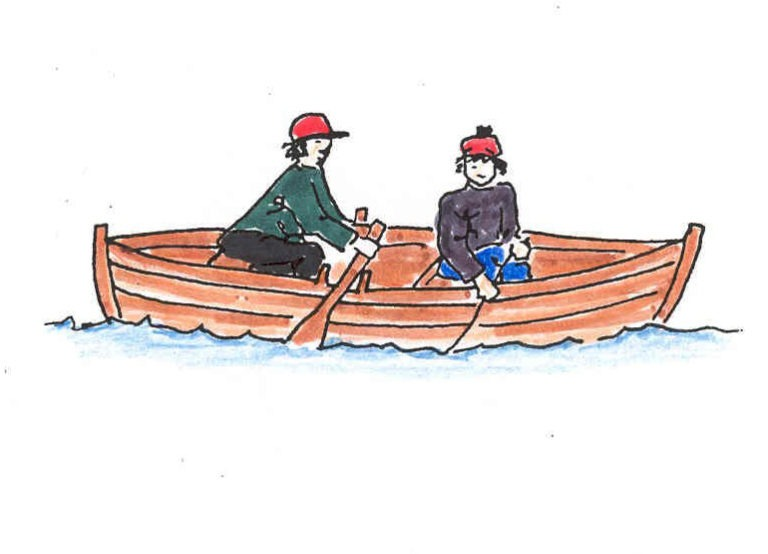 Fiskebåt med to personer i. Illustrasjon.