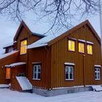 Vinterbilde av Skansen, Gaísis hovedkvarter i Tromsø. Bilde.